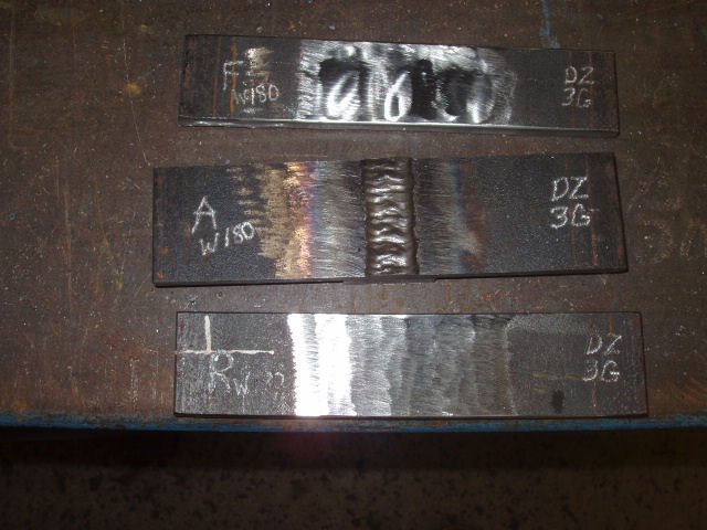 FCAW Welding Certification face and root bend specimen coupons.