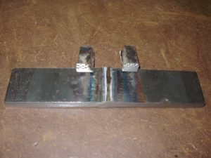 Weld test backing bar removed