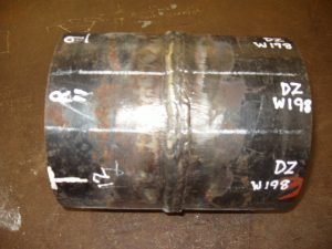 6G Pipe Welding Certification Test Specimens Marked Labeled
