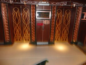 The elevator on deck 5 of the Carnival Spirit.