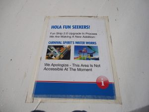 Carnival Spirit water park coming soon sign.