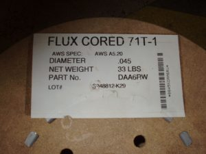 Flux Core Electrode Label 71T-1 Meaning
