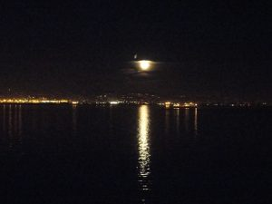 Full moon over San Francisco bay