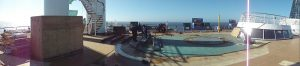 Panoramic picture of the Carnival Spirit water park being built.