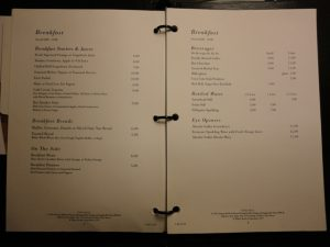 Los Angeles Airport Hilton Hotel Room Menu