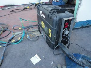 Miller MIG/FCAW wire feeder used for outdoor welding. closed and sealed from water.