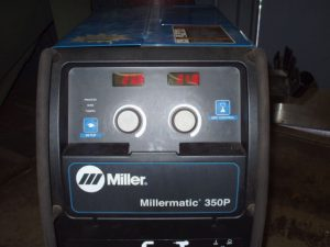 Millermatic 350P MIG Welder using FCAW Dual Shield FCAW wire.