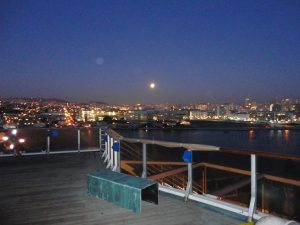 Moon over San Francisco in the BAE Systems Dry Dock