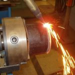 Pipe_Coupon_in_Watts_Pipe_Beveler_Torch_Cutting