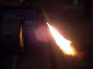 Pipe Coupon in Watts Pipe Beveler Torch Ignited