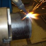 Pipe_Coupon_in_Watts_Pipe_Beveler_Torch_PreHeating_Pipe