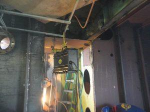 Inside of water tank being welded.