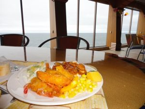Shrimp being served on the Carnival Spirit