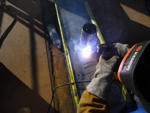 Stick Welding Stainless Steel with a Fillet Weld to Plate. using a E308 Electrode.
